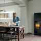 Tall Wood Burning Stove with Glass Footing