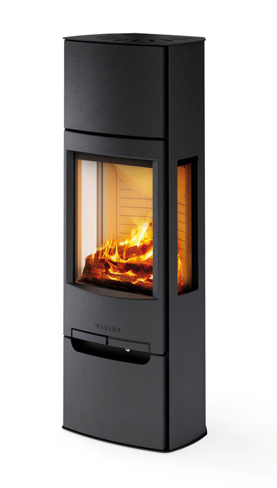 Wide Three Window Wood Burning Stove with Glass Footing