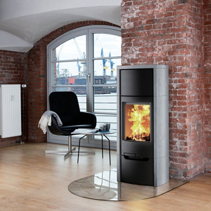 Wide Wood Burning Stove with Glass Footing
