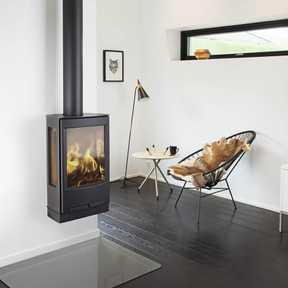 Wall Fixed Wood Burning Stove with Flue
