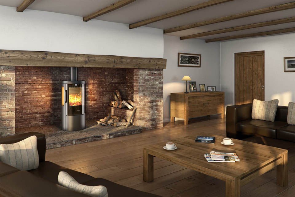 Fireplace with modern wood burning stove
